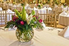 Floral arrangement. Pink, white, and green floral arrangement on table at event Stock Photos