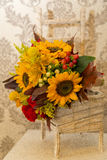Floral arrangement autumn themed wedding Stock Photos