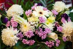 Floral arrangement at a baptismal party Stock Images