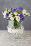 Floral arrangement with blue cornflowers and white roses Royalty Free Stock Images