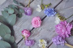 Floral arrangement on the board Royalty Free Stock Photo