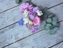 Floral arrangement on the board Stock Photo