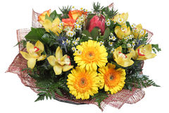 Floral arrangement flower bouquet of yellow gerberas, pale yello Stock Image