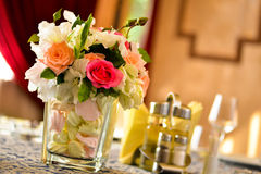 Floral arrangement. In a glass with marshmallows Royalty Free Stock Photography