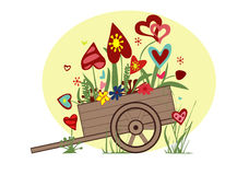 Floral arrangement from hearts in the cart on a yellow Royalty Free Stock Images