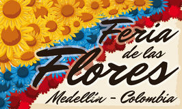 Floral Arrangement like Colombian flag over Scroll for Flowers Festival, Vector Illustration. Banner with a beautiful floral carpet like Colombian flag over Stock Photo