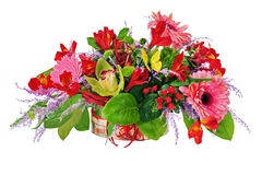 Floral arrangement from lilies, gerbera flowers and orchids in c Stock Photo