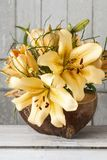 Floral arrangement with lily flowers royalty free stock photo