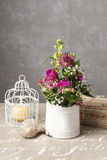 Floral arrangement with orchid flowers and gypsophila paniculata Stock Photos