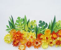 Floral arrangement of paper flowers on a white background.The view from the top. Floral arrangement of paper flowers on a blue background. tropical flowers and Royalty Free Stock Images