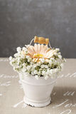 Floral arrangement with peach gerbera flower and gypsophila pani Royalty Free Stock Image