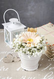 Floral arrangement with peach gerbera flower and gypsophila pani Royalty Free Stock Photo