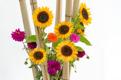 Floral arrangement with pink dahlias, sunflowers and bamboo Stock Images