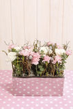 Floral arrangement with pink and white carnations Royalty Free Stock Image