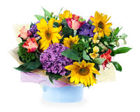 Floral arrangement of roses, lilies, irises Royalty Free Stock Photography
