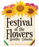 Floral Arrangement and Scroll for Colombian Festival of the Flowers, Vector Illustration Royalty Free Stock Image