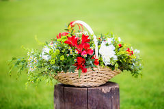 Floral arrangement with strawberries in a basket on the grass. Stock Photo