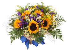 Floral arrangement of sunflowers, daisies, ferns and goldenrod. Flower composition. Flower Arrangement of sunflowers, daisies, ferns and goldenrod. Floral Stock Images