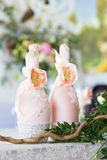 Floral arrangement to decorate the wedding feast, the bride and Stock Photo