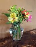 Floral arrangement watercolor. Photo of a floral arrangement converted to a watercolor stock images