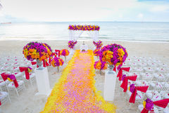 Floral arrangement at a wedding ceremony. Royalty Free Stock Photography