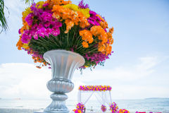 Floral arrangement at a wedding ceremony. Royalty Free Stock Photo