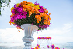 Floral arrangement at a wedding ceremony. Royalty Free Stock Images