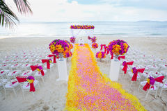 Floral arrangement at a wedding ceremony. Royalty Free Stock Image