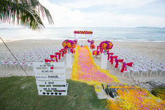 Floral arrangement at a wedding ceremony. Stock Photo