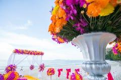 Floral arrangement at a wedding ceremony. Stock Image