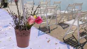 Floral arrangement at a wedding ceremony Royalty Free Stock Image