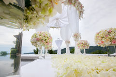 Floral arrangement at a wedding ceremony Stock Image