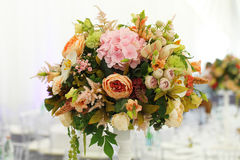 Floral arrangement wedding tent White canopy. Serving on the table restaurant catering elegant floral arrangement wedding tent White canopy Stock Photography