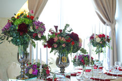 Floral arrangement wedding tent White canopy Stock Image