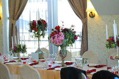 Floral arrangement wedding tent White canopy Stock Images
