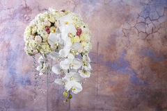 Floral arrangement with white orchids, carnations and chrysanthe. Mums. Copy space Royalty Free Stock Photography