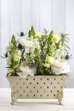 Floral arrangement with white ranunculus and matthiola flowers Stock Image