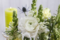 Floral arrangement with white ranunculus and matthiola flowers Royalty Free Stock Image
