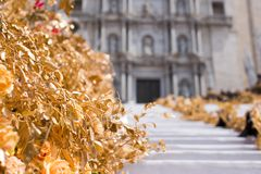 Floral arrangements for Flower Festival in Girona Stock Photos