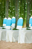 Floral arrangements located on seats Royalty Free Stock Image