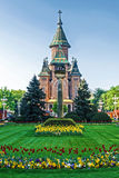 Floral arrangements in Victory Square, with orthodox cathedral i Stock Image