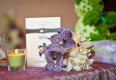 Floral arrangements on wedding ceremony detail Stock Image