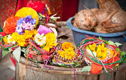Floral arrangment for holi festival and religious offerings. In Nepal Stock Photos