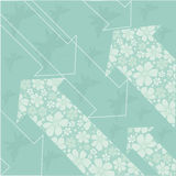 Floral arrows. Green floral background with arrows Royalty Free Stock Photography