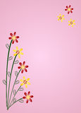 Floral art. Cute red and yellow flowers on a pink background vector illustration