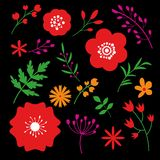 Floral art design on black background. Beautiful flowers decorative template. Elegant abstract decoration spring drawing pattern. Vector royalty free illustration