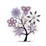 Floral art tree. For your design Stock Images