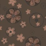 Hand drawn beige buttercup flowers with black cobweb on brown backgroud. royalty free illustration