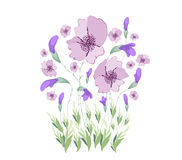 Floral Art Watercolor painting Original Flower.  Royalty Free Stock Photo