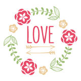 Floral artistic and hipster wreath Royalty Free Stock Image